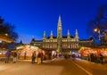 Christmas Market near City Hall in Vienna Austria