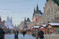 Christmas market on red square moscow and new year Royalty Free Stock Photos
