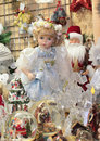 Christmas market shop doll and souvenirs in the Stock Photography