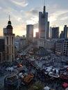 stock image of  Christmas market sunset