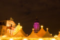 Christmas market with tents on gendarmemarkt in berlin Royalty Free Stock Photo
