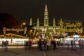 Christmas market at town hall in Vienna Stock Photos