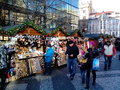 Christmas market on vaclavske namesti prague czech republic Stock Photo