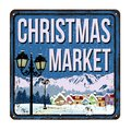 Christmas Market vintage rusty metal sign Royalty Free Stock Photo