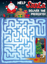 Christmas maze for kids help santa find his way through the snowy to deliver the presents under the tree Stock Photo