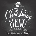 Christmas menu on chalkboard background