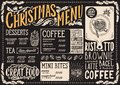 Christmas menu template for coffee shop on a blackboard vector illustration brochure for xmas day celebration. Design poster with