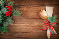 Christmas menu on wooden background. Top view