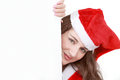 Christmas message board cute female santa with Royalty Free Stock Photo