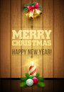 Christmas message board vector objects and on wooden background elements are layered separately in vector file Royalty Free Stock Photo