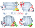 Christmas message boards with fir branches, toys, cute puppy and birds.