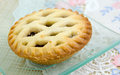Christmas mince pie lattice with sugar bits Stock Photo