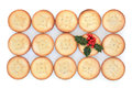 Christmas mince pies pie cakes and holly over white background Royalty Free Stock Image