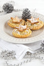 Christmas mince pies with silver decorations Royalty Free Stock Image