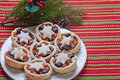 Christmas mince pies on a white plate Royalty Free Stock Photos