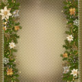 Christmas miraculous garland on vintage background border of decorations and pine branches Royalty Free Stock Photos