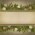 Christmas miraculous garland on vintage background decoration and pine branch with space for text Stock Image