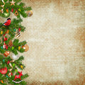 Christmas miraculous garland on vintage background with decorations with space for text or photo Royalty Free Stock Image