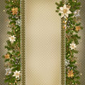 Christmas miraculous garland on vintage background with space for text or photo with beautiful decorations Royalty Free Stock Photography