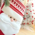 Christmas mitten as santa Stock Image