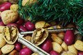 Christmas Mixed Nuts with Nut Crackers Stock Photography