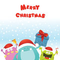 Christmas monsters card cute little having a party Stock Photos