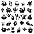 Christmas monsters silhouettes Stock Photography
