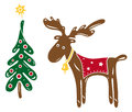 Christmas moose colorful sweet with tree Stock Photography