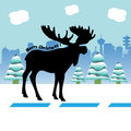 Christmas moose greeting with silhouette standing in the middle of the road and wishing merry Royalty Free Stock Photography