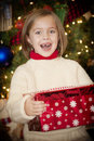 Christmas Morning Excitement and Surprise Royalty Free Stock Image