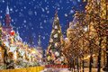 Christmas in Moscow. Christmas tree on Red Square Royalty Free Stock Photo
