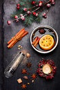 Christmas mulled wine with spices on black slate chalkboard Royalty Free Stock Photo