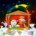 Christmas nativity with lights and cute animals Stock Photography