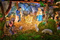 Christmas nativity scene with baby Jesus, Mary & Joseph in barn Royalty Free Stock Photo