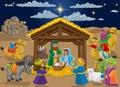 Christmas Nativity Scene Cartoon Royalty Free Stock Photo