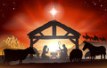 Christmas nativity scene christian with baby jesus in the manger in silhouette three wise men or kings farm animals and star of Stock Photo