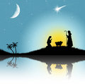 Christmas nativity scene illustration of Royalty Free Stock Photos