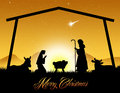 Christmas nativity scene illustration of Royalty Free Stock Images