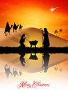 Christmas nativity scene illustration of Stock Images