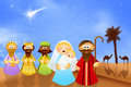 Christmas nativity scene illustration of Stock Photos