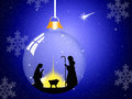 Christmas nativity scene illustration of in the crystal ball Stock Image