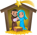 Christmas nativity scene illustration featuring with joseph holding newborn jesus sleeping in his arms and mary caressing him in a Royalty Free Stock Image