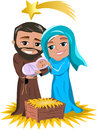 Christmas nativity scene illustration featuring with joseph holding newborn jesus sleeping in his arms and mary caressing him both Stock Images
