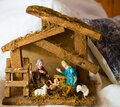 Christmas nativity scene - Jesus Christ, Mary and Joseph Royalty Free Stock Photo