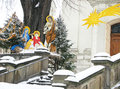 Christmas nativity scene near church in the winter day. Royalty Free Stock Photo