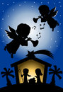Christmas Nativity Scene Silhouette with Angels Royalty Free Stock Photo