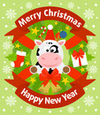 Christmas and new year background with cow card Royalty Free Stock Images