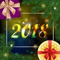 Christmas and new year 2018 background with a frame and realistic pine branches, snowflakes, gift boxes with red and golden bow.