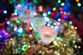 Christmas, New Year background of glasses with sparkling wine Royalty Free Stock Photo