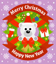Christmas and new year background with polar bear card Stock Image
